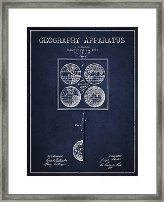 Geaography Apparatus Patent From 1873 - Navy Blue Framed Print by Aged Pixel