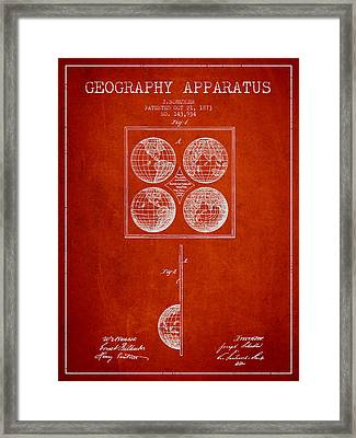 Geaography Apparatus Patent From 1873 - Red Framed Print