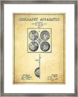 Geaography Apparatus Patent From 1873 - Vintage Framed Print by Aged Pixel