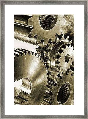 Gears And Cogwheels In Antique Look Framed Print