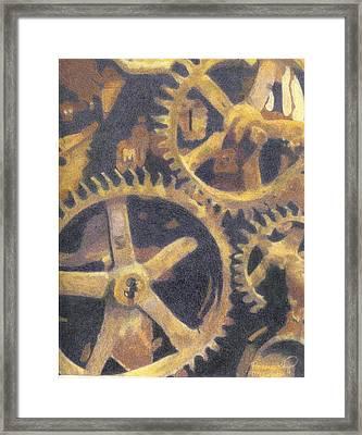 Gears Framed Print by Ronine McIntyre