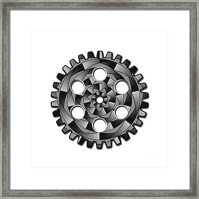 Gearwheel In Black And White Framed Print