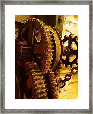 Gearwheel..machinery Framed Print by Tom Druin
