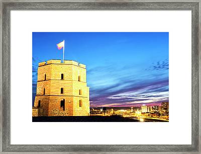 Framed Print featuring the photograph Gediminas Tower by Fabrizio Troiani