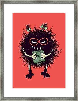 Geek Evil Bug Character Loves Reading Framed Print