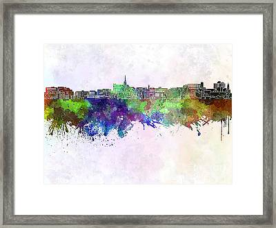 Geelong Skyline In Watercolor Background Framed Print by Pablo Romero