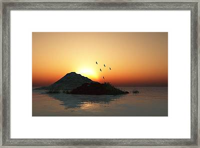 Geese And Sunset Framed Print