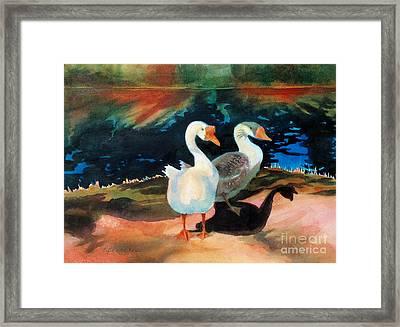 Geese At Riverside Framed Print by Kathy Braud