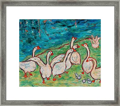 Framed Print featuring the painting Geese By The Pond by Xueling Zou