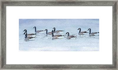 Geese On Pond Framed Print