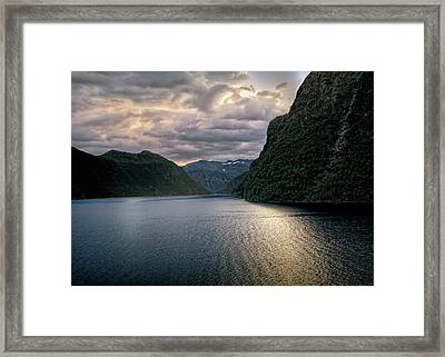 Framed Print featuring the photograph Geiranger Fjord by Jim Hill
