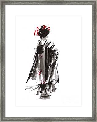 Geisha Abstract Painting. Framed Print