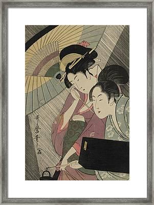Geisha And Attendant On A Rainy Night Framed Print by Kitagawa Utamaro
