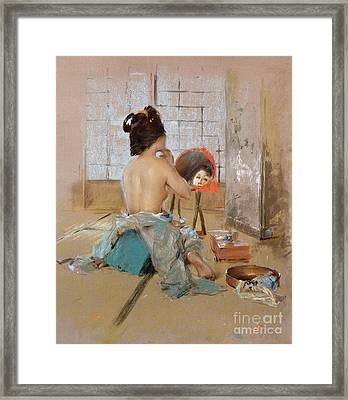 Geisha At Her Toilet  Framed Print by Robert Frederick Blum