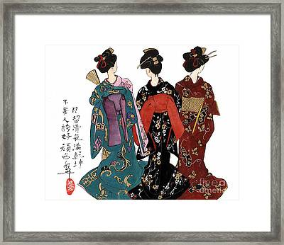 Geisha - Back View Framed Print by Linda Smith