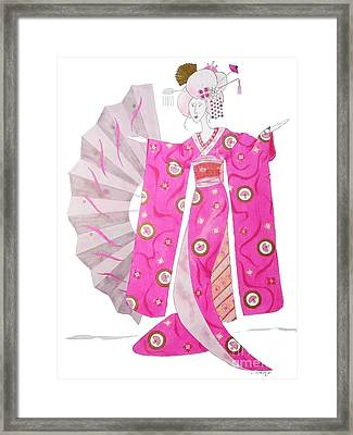 Geisha Barbie -- Whimsical Geisha Girl Drawing Framed Print