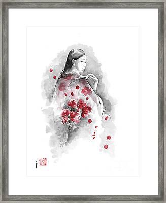 Geisha - Cherry Blossom. Framed Print