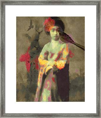Geisha Girl Framed Print by Lisa Noneman