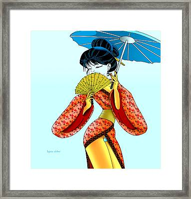 Framed Print featuring the painting Geisha Girl by Lynn Rider