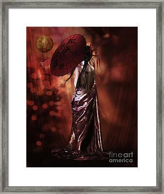 Framed Print featuring the digital art Geisha Gold by Shanina Conway