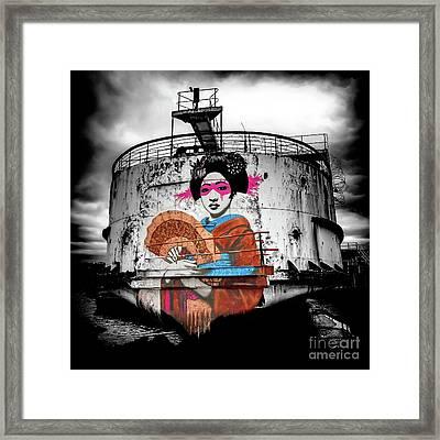 Framed Print featuring the photograph Geisha Graffiti by Adrian Evans