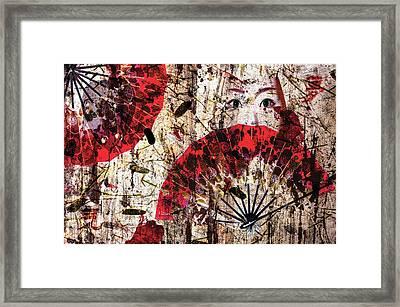 Geisha Grunge Framed Print by Paula Ayers