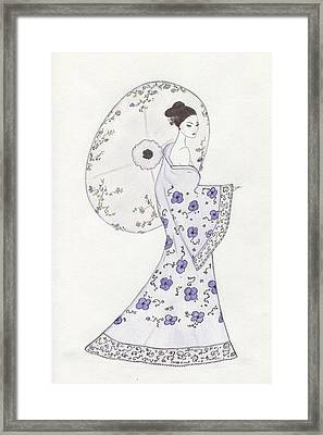 Geisha In Bloom Framed Print by Christine Corretti