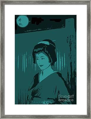 Geisha In Blue Framed Print by Louise Fahy