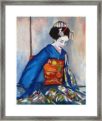 Geisha In Blue Kimono Framed Print