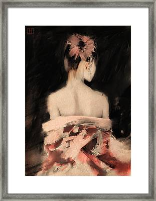 Geisha In Pink Framed Print by H James Hoff