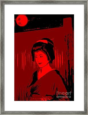 Geisha In Red Framed Print by Louise Fahy
