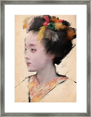 Geisha In Yellow Framed Print by H James Hoff