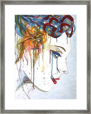 Geisha Soul Watercolor Painting Framed Print
