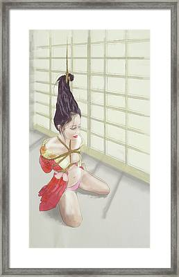 Framed Print featuring the mixed media Geisha by TortureLord Art