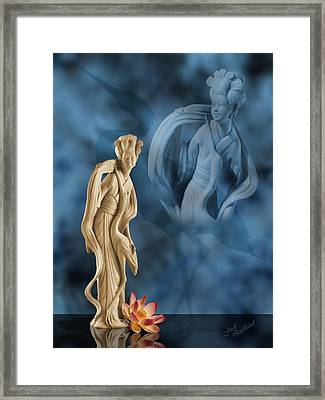 Geisha With An Egret Framed Print