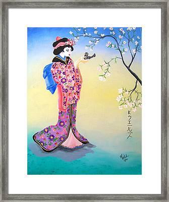 Geisha With Bird Framed Print by Kathern Welsh