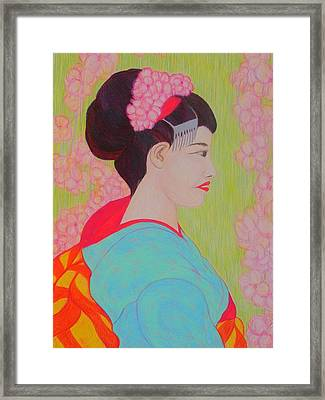 Geisha With Cherry Blossoms Framed Print