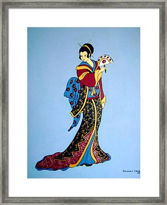 Framed Print featuring the painting Geisha With Fan by Stephanie Moore
