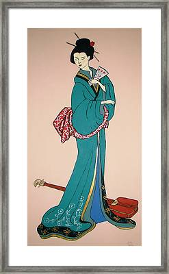 Framed Print featuring the painting Geisha With Guitar by Stephanie Moore