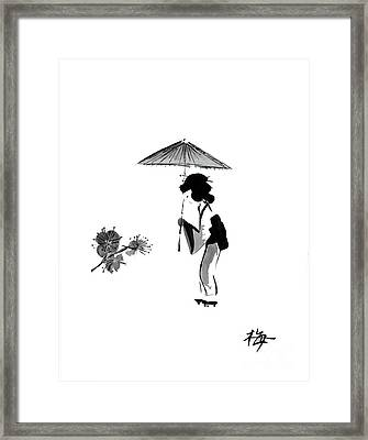 Geisha With Parasol Framed Print