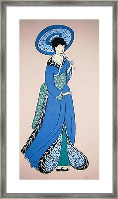 Framed Print featuring the painting Geisha With Parasol by Stephanie Moore