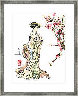 Geisha With Peach Blossoms Framed Print by Linda Smith