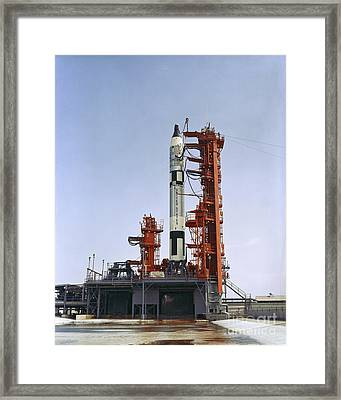 Gemini 5 Spacecraft On Its Launch Pad Framed Print by Stocktrek Images