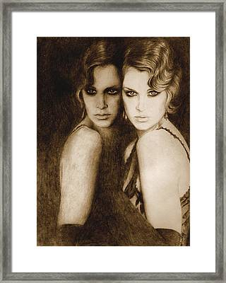 Framed Print featuring the painting Gemini by Ragen Mendenhall
