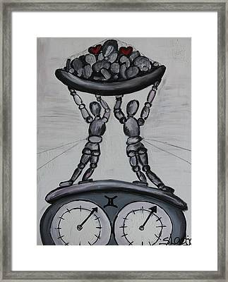 Framed Print featuring the painting Gemini by Sladjana Lazarevic