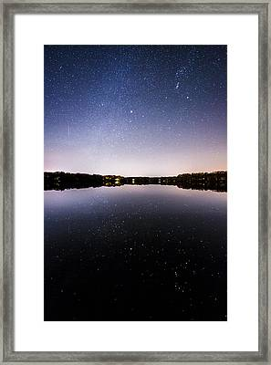 Geminid Meteor Reflection Framed Print by Ryan Moore