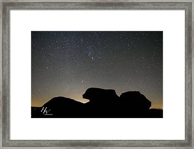 Geminid Meteor Shower At Beacon Heights Framed Print by Hunter Ward