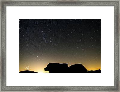 Geminid Meteor Shower From Beacon Heights Framed Print by Hunter Ward