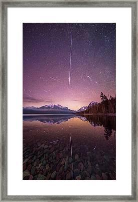Geminid Meteor Storm // December 13th, 2017 // Lake Mcdonald, Glacier National Park Framed Print