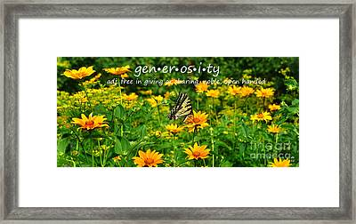 Framed Print featuring the photograph Gen Er Os I Ty  by Diane E Berry